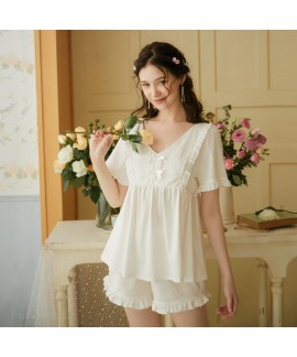 Cotton Plus Size Loose Short Sleeve Shorts Ladies ...