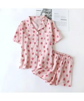 Cotton Crepe Short-sleeved Shorts Ladie's Pajamas ...