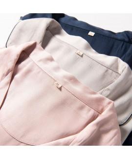 2020 New Cotton Silk viscose Short-sleeved Lapel Artificial Cotton Women's Pajamas Suit For Summer