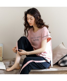 Pure Cotton Short-sleeved Trousers Simple And Loose Casual Round Neck Large Size Ladies Pajamas Suit For Summer