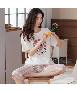 Oversize Casual Loose Cotton Short Sleeve Five-point Pants Sports Style Ladies Pajamas Suit For Summer