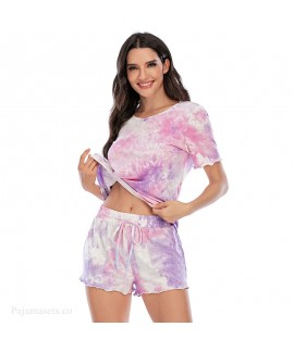 Tie-dye Short-sleeved Shorts Cotton Ladies Pajama Set For Summer