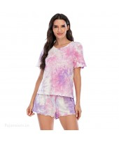 Tie-dye Short-sleeved Shorts Cotton Ladies Pajama ...