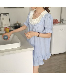 New Short-sleeved Pure Cotton Side Collar Sweet Ins Style Ladies Pajamas Suit For 2020 Summer
