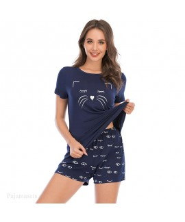 Explosive Short Sleeve Shorts Modal Ladies Printed Pajama Set For Summer