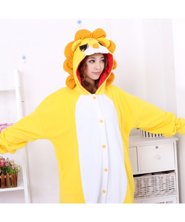 Soft Cosplay Lovely lions pajamas for unisex flannel Onesie Costumes cheap cartoon pj set