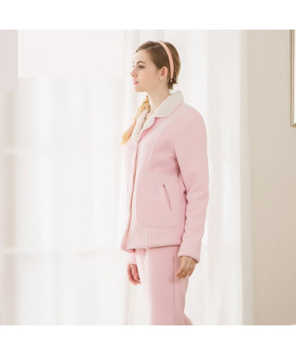new style lamb collar pajama set for spring cheap lapel sleepwear for sale