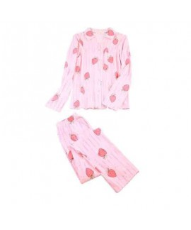 New Long Sleeved pink Ladies pajama sets with strawberry print comfy pj set for women