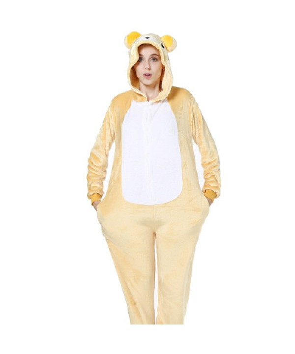 New Lovely flannel bear cartoon animated body comfy lady pajamas