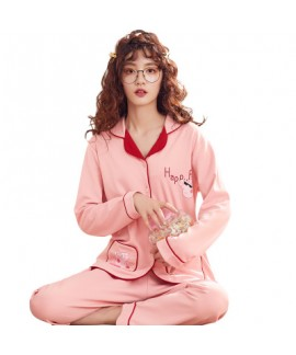 Long sleeved Cardigan lovely pink ladies pajama sets comfy lounge pajamas for women