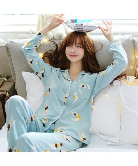 ladies cotton pajamas long sleeved cartoon cute pa...
