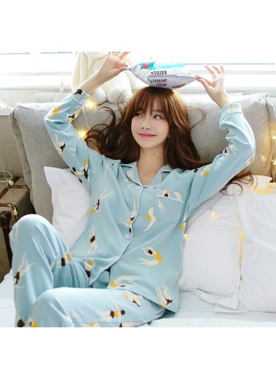 ladies cotton pajamas long sleeved cartoon cute pajama sets for women with fashion print
