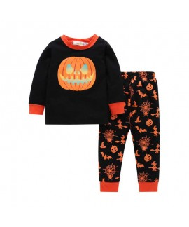 Halloween autumn pumpkin head two-piece pajamas se...