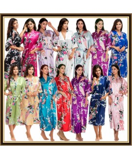 Long bridesmaid pj sets for women peacock printed ...