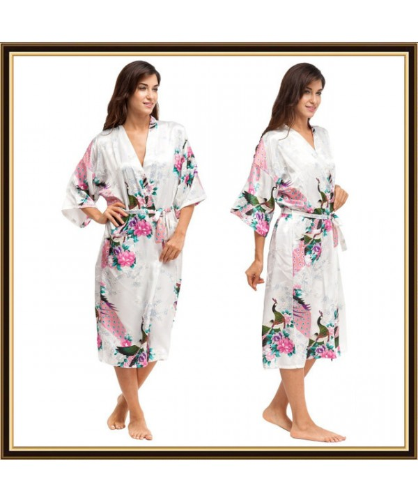 Long bridesmaid pj sets for women peacock printed pajama and robe sets