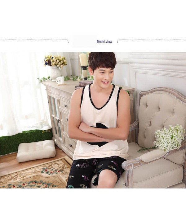 Thin Cartoon sleeveless vest men pajama short sets...