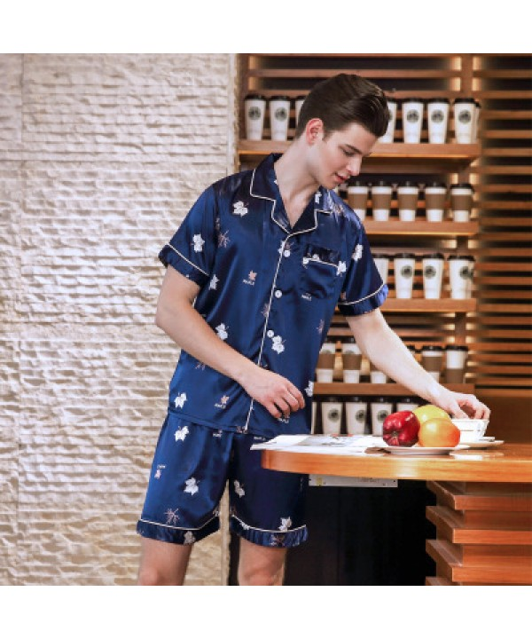 Comfy mens ice silk pajama sets buy silky nightwear sets male