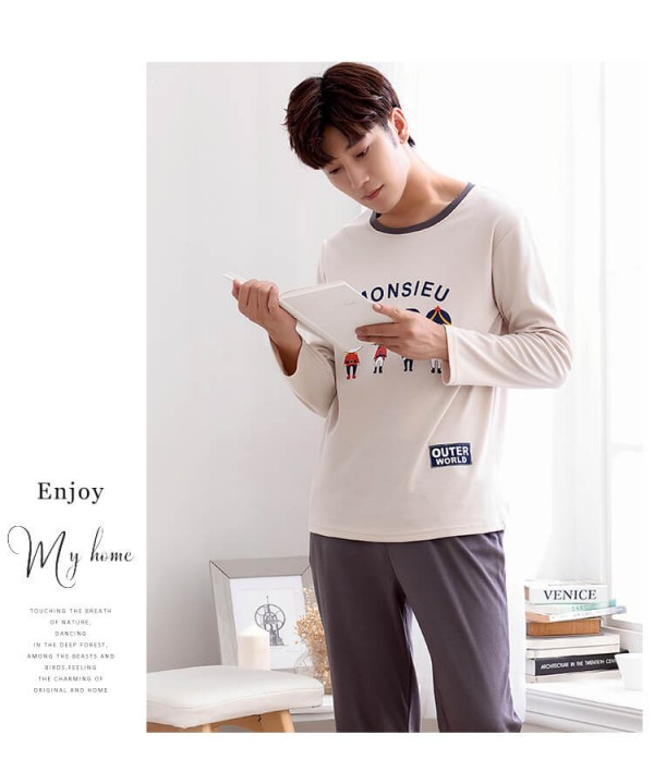 long sleeved mens cotton pj sets for spring cheap ...