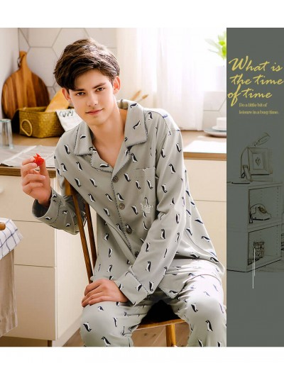 Autumn men's lovely long sleeved cotton softest pyjamas large size home pajama sets