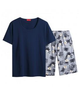 Men's pajama sets autumn Cotton cartoon home T-SHIRT with Beach Shorts