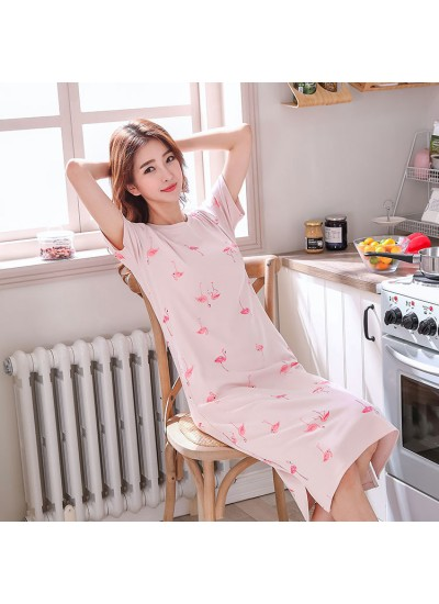 Short sleeve pajamas and onesies female in summer loose size long knee pajama sets for girls