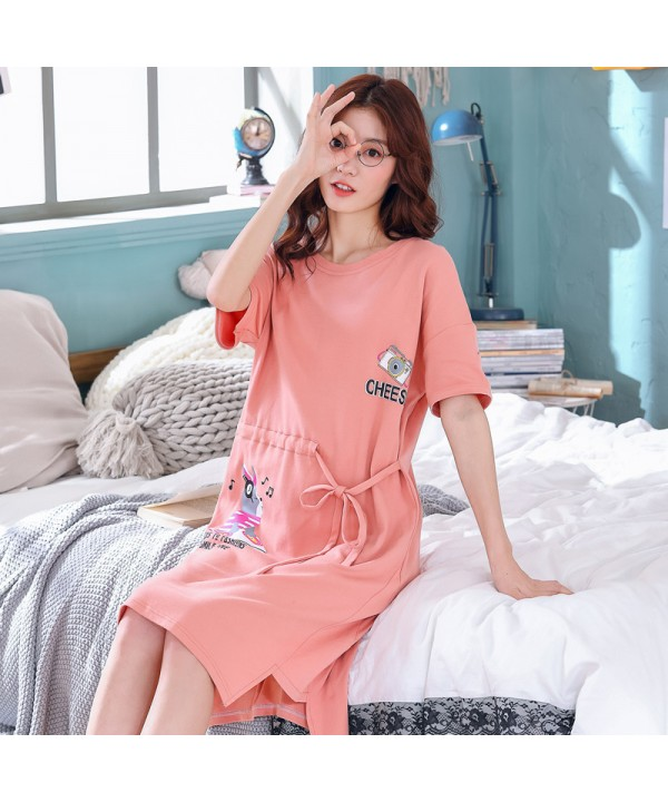 pure cotton short sleeve girls' pyjamas in summer sweet cute cartoon pajamas and onesies for women