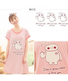 Short sleeve printed ladies pajamas and onesies for summer Round neck sleepwear for women
