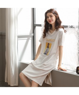 2019 pure cotton ladies sleepwear for summer casua...