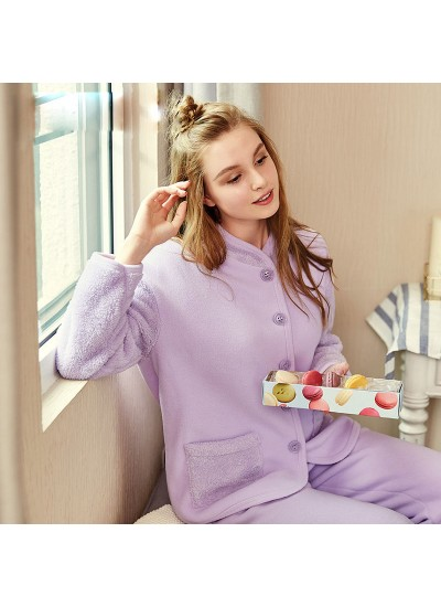 Thickened collar women sleepwear comfy pure color set of pajamas female