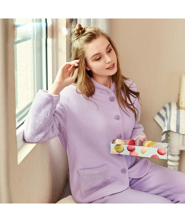 Thickened collar women sleepwear comfy pure color ...