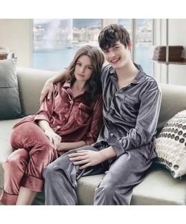 couple pajamas women's velvet long sleeved men's P...