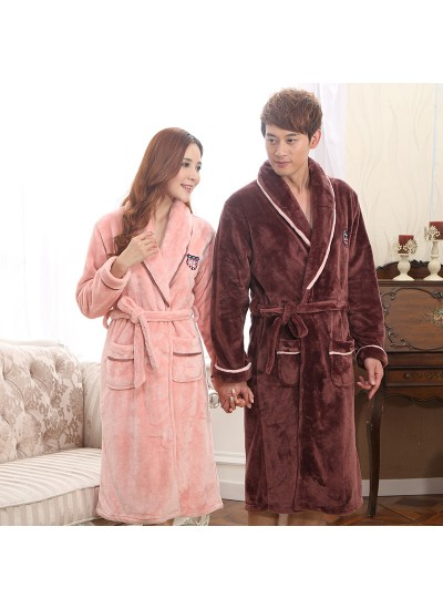 Thickened coral velvet pajamas and robe sets comfy flannel pajamas for men and women