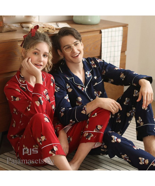 long sleeves cute cotton pajama sets for couple lo...