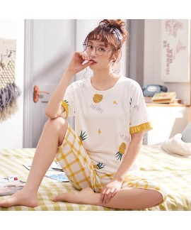 Short-sleeved Pure Cotton Sleepwear Women for Spring and Summer