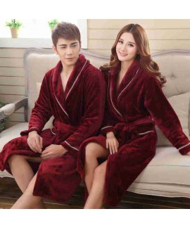 Men's and women's couple models coral fleece thick...