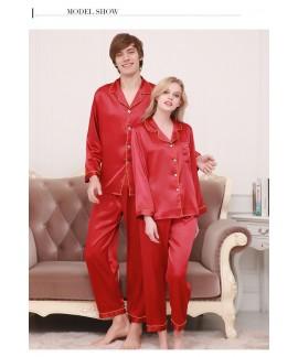 New couple pajamas ice silk long sleeve large size...