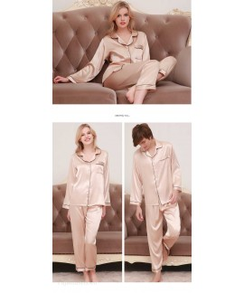 New couple pajamas ice silk long sleeve large size home service suit