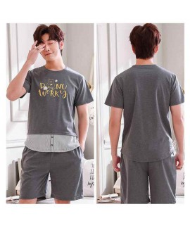 New Korean casual home service short-sleeved cotton men's and women's youth couple pajamas set