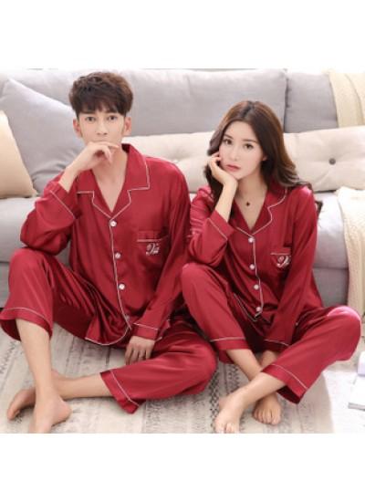 Large size thin section simulation silk long sleeve silk home service couple pajamas set