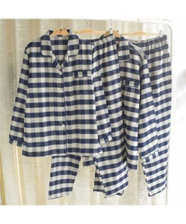 Autumn cotton brushed flannel simple plaid long-sl...