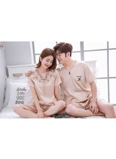 Mixed Batch of Simulation Silk Short-sleeved Thin Section Casual Pullover Couple Pajamas