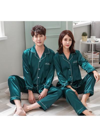 Ice silk long-sleeved thin cardigan men and women plus size pajamas