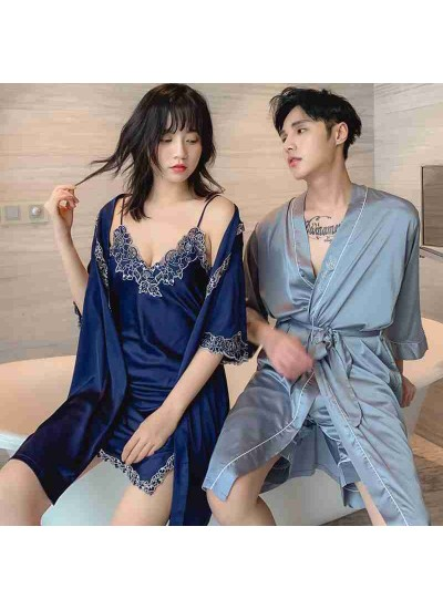 Simulation silk sexy suspenders night skirt Two-piece Female And Male Couple Nightgown