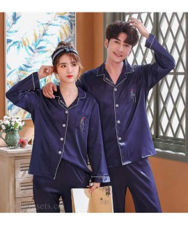 Love Heart New Simulation Silk Long Sleeve Couple Pajamas Sets