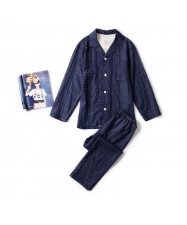 Japanese-style seamless combed cotton double-layer gauze couples pajamas
