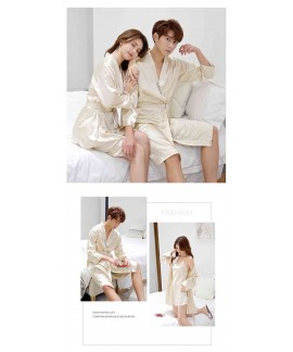 Korean Simulation Silk Men And Women Sexy Couple Home Service Nightgown
