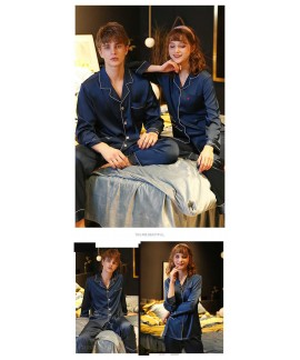 Couple pajamas simulation silk long sleeve suit home service