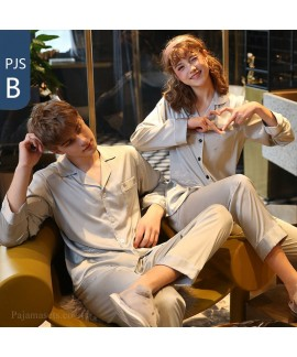 Couple pajamas simulation silk long sleeve suit ho...