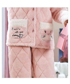 Korean version three-layer thick quilted coral flannel plus velvet warm Couple Pajamas