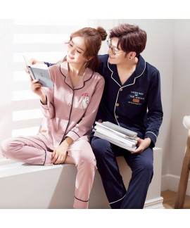 Couple pure cotton long-sleeved autumn Korean casu...